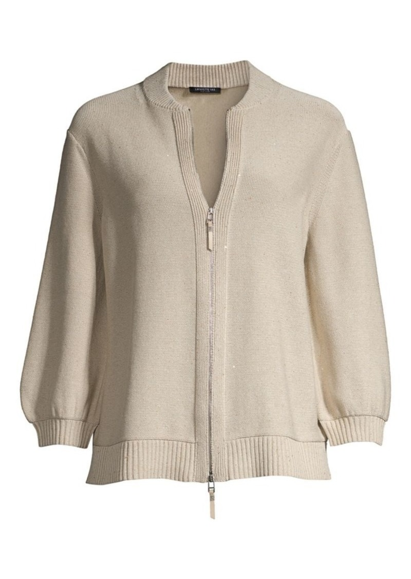 Lafayette 148 Fitted Sequin Knit Bomber Cardigan