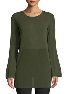 Lafayette 148 Flared-Sleeve Lightweight Sweater