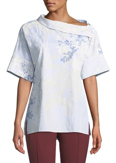Lafayette 148 Flip-Shoulder Short-Sleeve Poplin Blouse