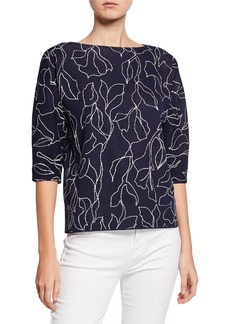 Lafayette 148 Floral Jacquard Sweater with Chain Detail