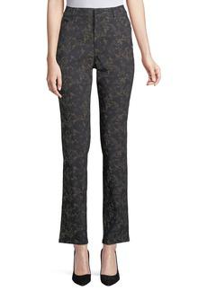 Floral-Print Curvy Slim-Leg Pants