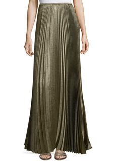 Lafayette 148 Florianna Bijoux Pleated Metallic Maxi Skirt