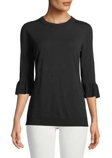 Lafayette 148 Flounce-Sleeve Matte Crepe Sweater