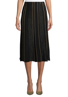 Lafayette 148 Fluted Ottoman-Pleated Silk Skirt with Sequined Embellishments
