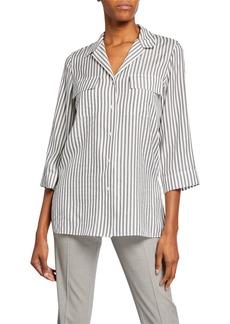 Lafayette 148 Fran Striped 3/4 Sleeve Silk Blouse