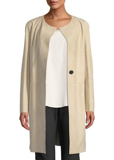 Lafayette 148 Francine Leather Topper Coat