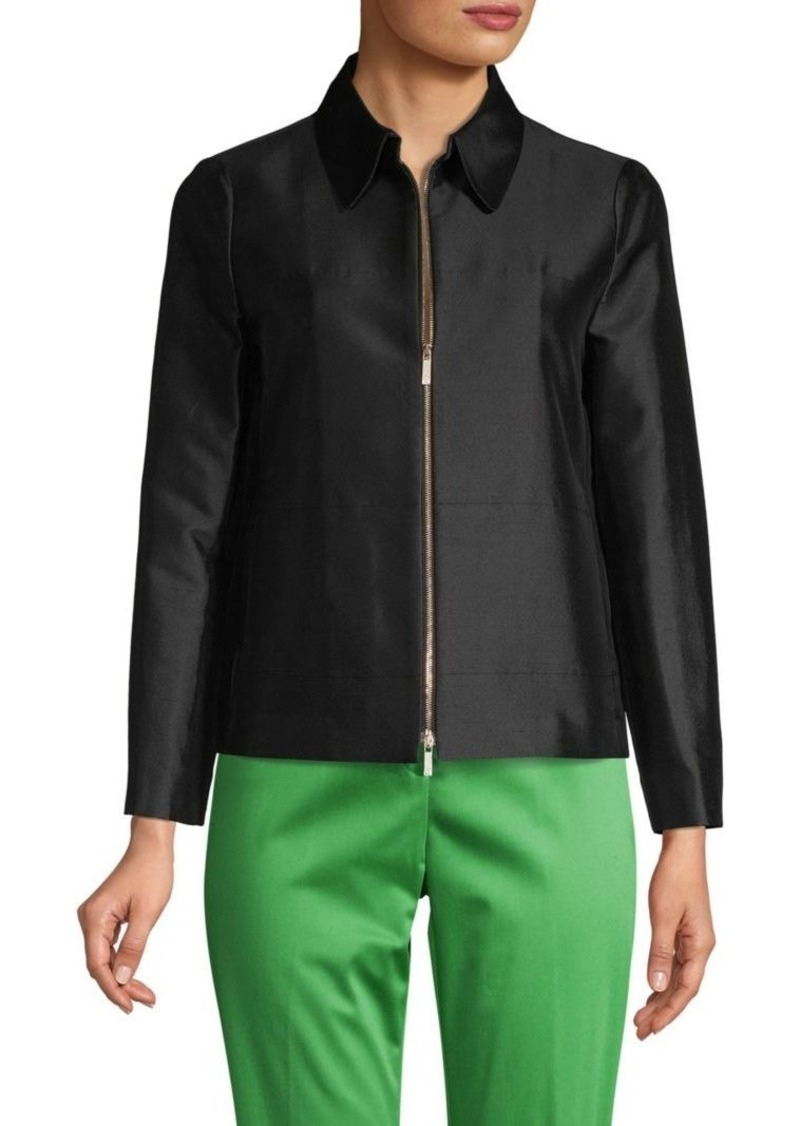 Lafayette 148 Full-Zip Cotton & Silk Jacket