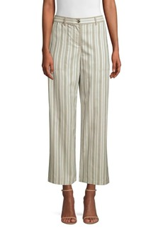 Lafayette 148 Fulton Cropped Wide Leg Striped Pants