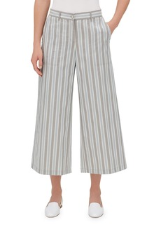 Lafayette 148 Fulton Elixir Striped Cropped Wide-Leg Pants