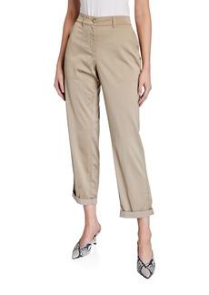Lafayette 148 Fulton Straight-Leg Satin Cloth Pants