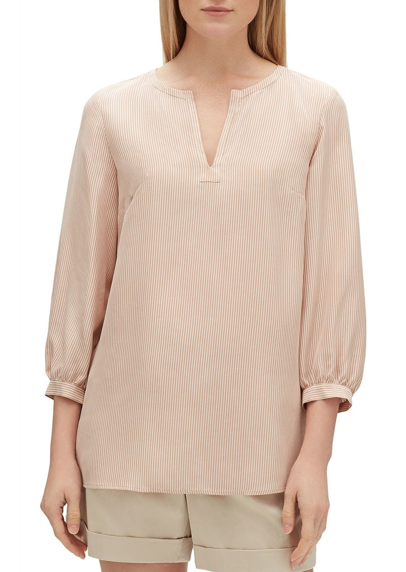 Lafayette 148 Gaia Signore Stripe V-Neck 3/4-Sleeve Silk Blouse