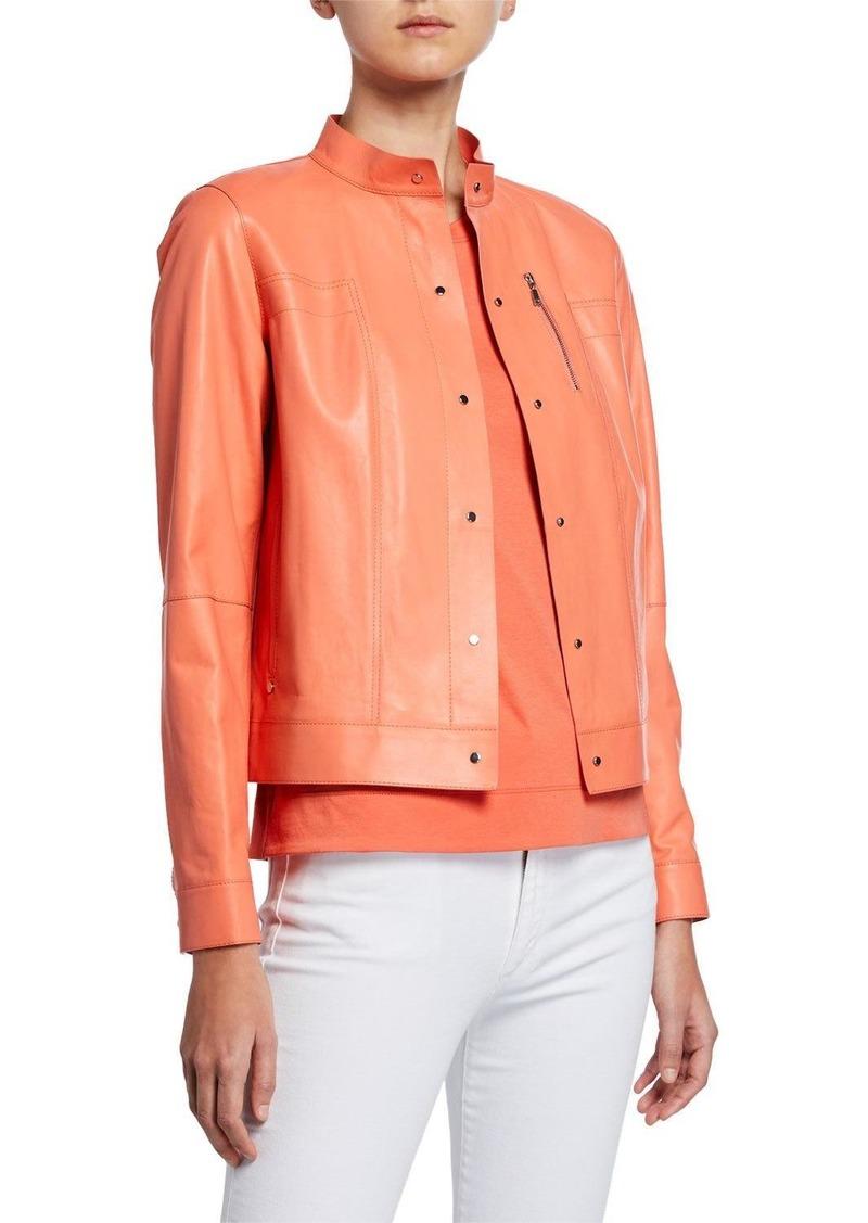 Lafayette 148 Galicia Button-Front Glazed Weightless Lambskin Leather Jacket