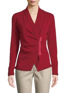 Lafayette 148 Gathered Asymmetric Surplice-Neck Cashmere Sweater