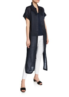 Lafayette 148 Gemma Button-Front Short-Sleeve Cloth Topper