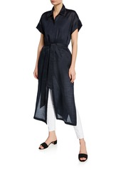 Lafayette 148 Gemma Button-Front Short-Sleeve Cloth Topper