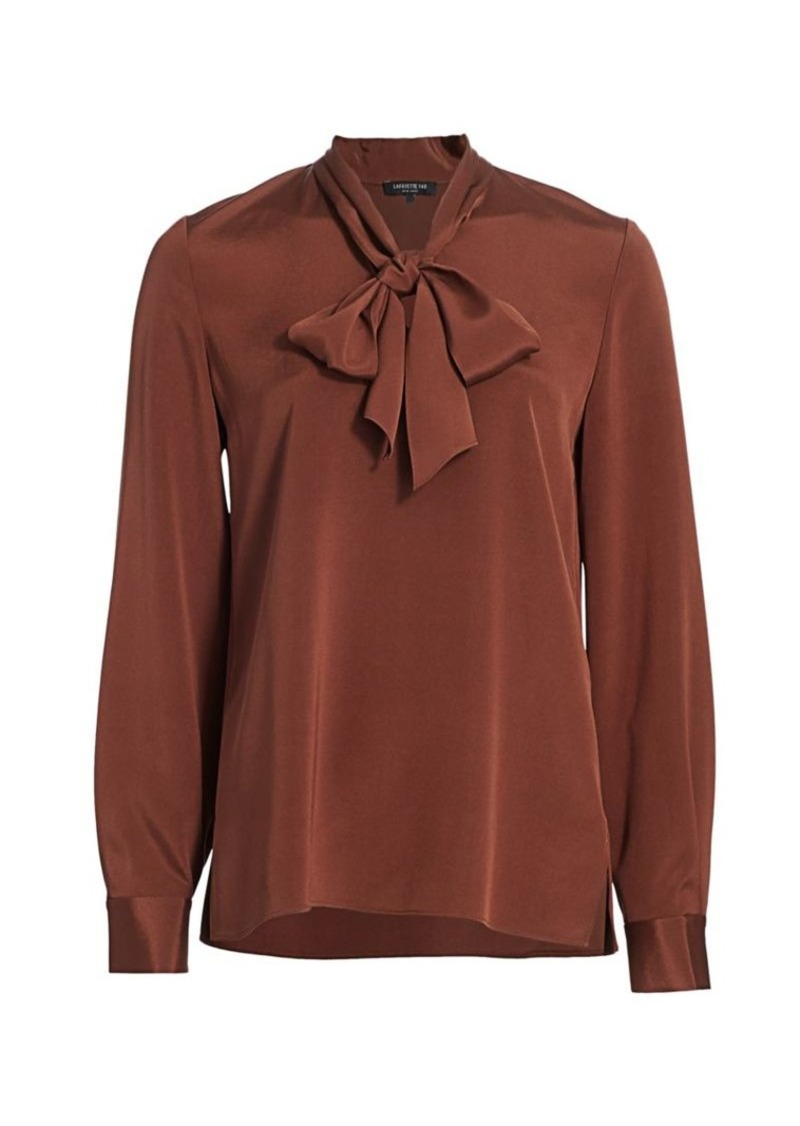 Lafayette 148 Genevive Silk-Blend Tie Neck Blouse