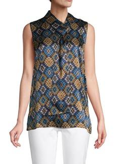 Lafayette 148 Geometric-Print Silk Top