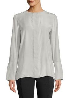 Lafayette 148 Georgie Silk Beaded-Trim Long-Sleeve Blouse