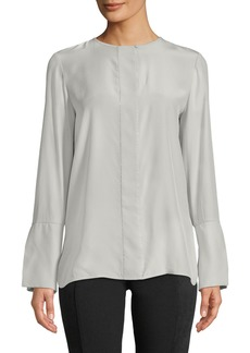 Lafayette 148 Georgie Silk Beaded-Trim Long-Sleeve Blouse