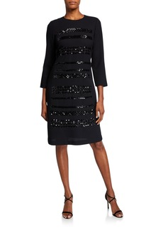 Lafayette 148 Giovanetta Embellished Nouveau Crepe 3/4-Sleeve Sheath Dress