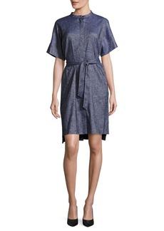 Lafayette 148 Giselle Belted Linen-Blend Dress