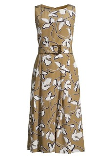 Lafayette 148 Gracie Belted Floral Silk Dress