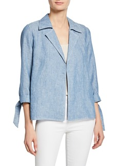 Lafayette 148 Grant Open-Front Chambray Jacket