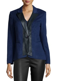 Lafayette 148 Greer Cashmere Jacket W/Leather Trim  Dusk Melange