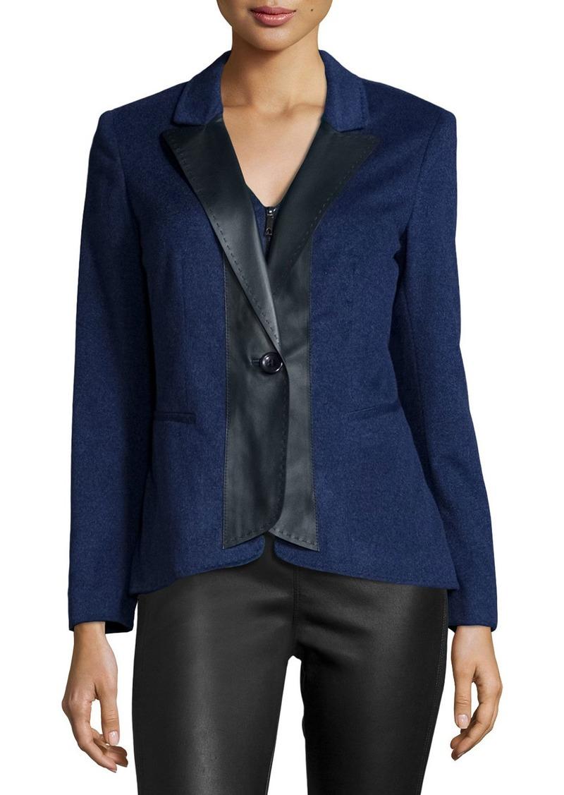 Lafayette 148 Greer Cashmere Jacket W/Leather Trim  Dusk Melange