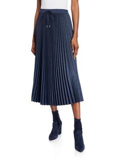 Lafayette 148 Gwenda Micro Pleating Drawstring Midi Skirt