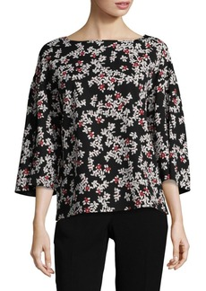 Lafayette 148 Gwendolyn Floral Bell-Sleeve Blouse