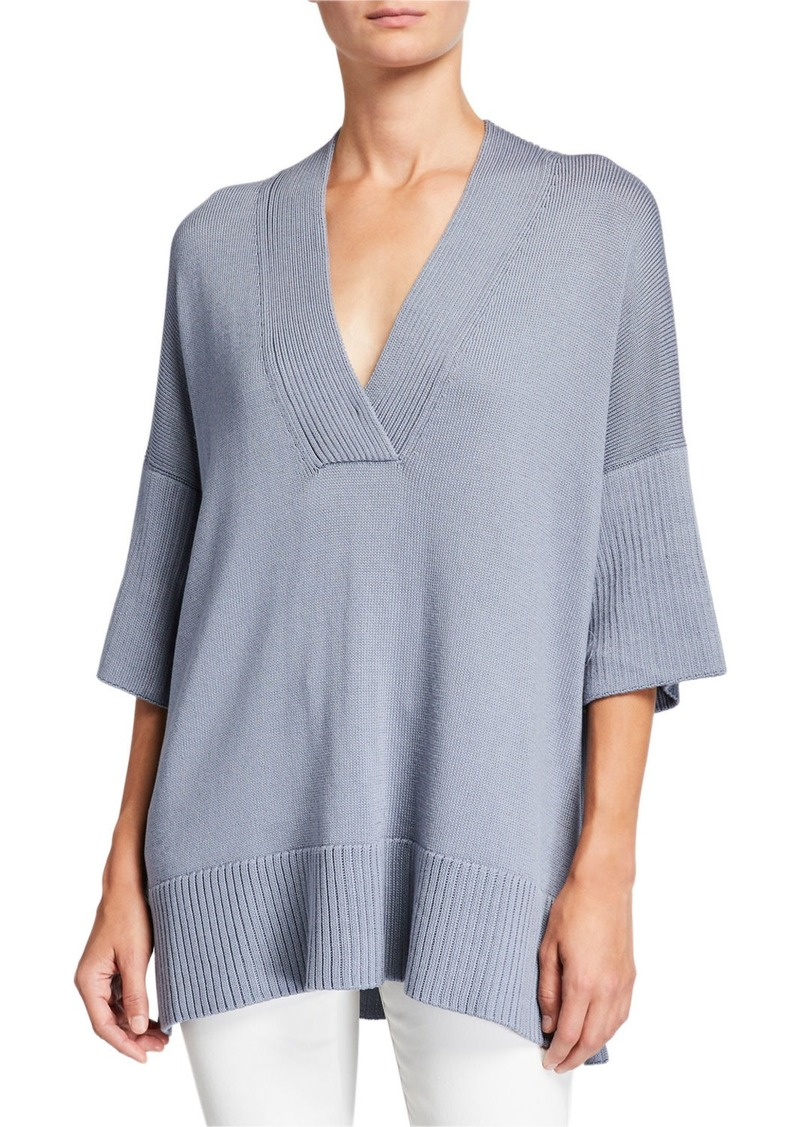 Lafayette 148 Half-Sleeve Cotton/Silk Relaxed V-Neck Sweater