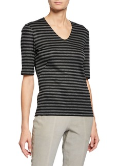 Lafayette 148 Half-Sleeve V-Neck Striped Top