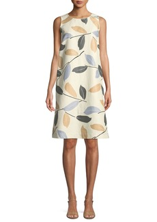 Lafayette 148 Hana Laurel-on-Cotton Shift Dress