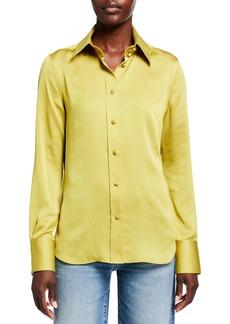 Lafayette 148 Harbison Carlisle Cloth Button-Front Blouse