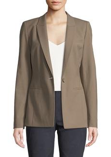 Lafayette 148 Harvey One-Button Wool-Stretch Blazer Jacket