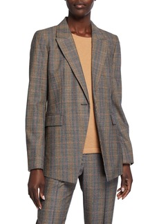 Lafayette 148 Heather One-Button Eloquent Plaid Jacket