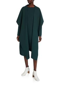 Lafayette 148 Hemingway Draped Open-Front Wool Crepe Coat