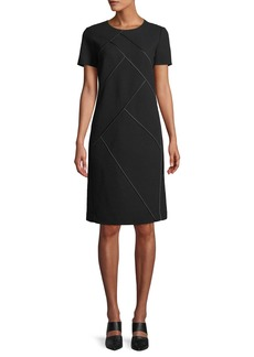 Lafayette 148 Henora Short-Sleeve Crewneck A-Line Wool Dress w/ Charmeuse Piping