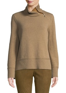 Lafayette 148 High-Neck Cropped Wool-Blend Sweater with Zip Detail