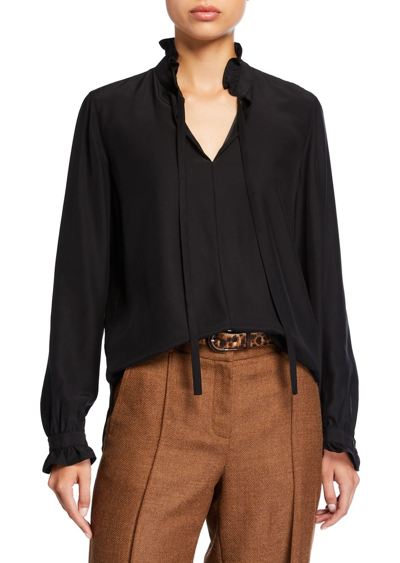 Lafayette 148 High-Neck Long-Sleeve Matte Silk Blouse with Ties