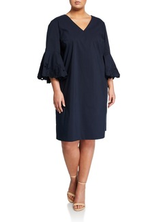 Lafayette 148 Holly Embroidered-Sleeve Sheath Dress  Plus Size