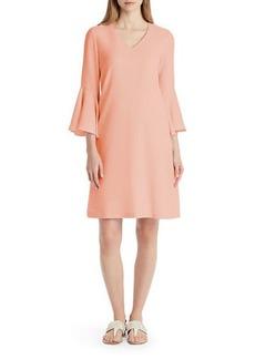 Lafayette 148 Holly Ruffle-Cuff Crepe Shift Dress