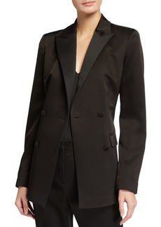 Lafayette 148 Holton Radiant Satin Cloth Double-Breasted Blazer