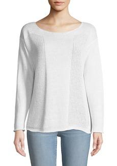 Lafayette 148 Honeycomb-Knit Bateau-Neck Sweater