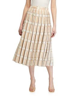 Lafayette 148 Ilaria Pleated Silk Midi Skirt