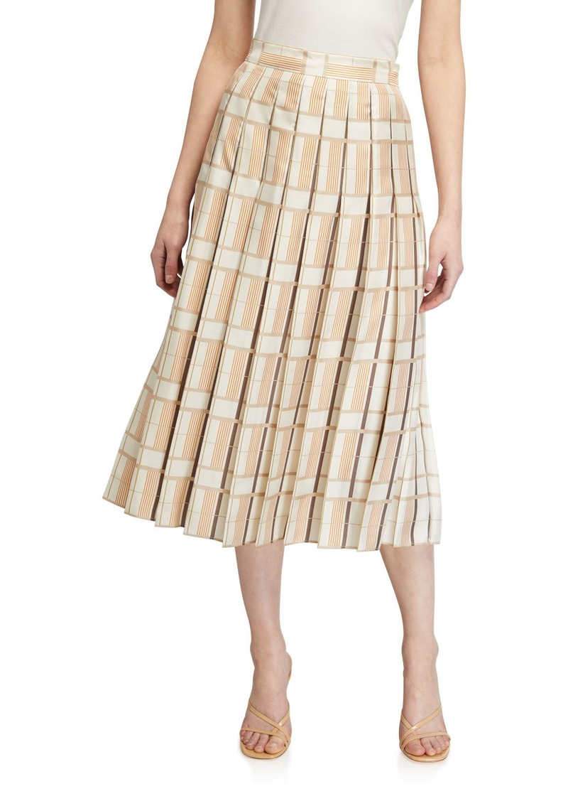 Lafayette 148 Ilaria Pleated Silk Midi Skirt