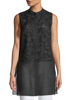 Lafayette 148 Indira Sleeveless Sheer-Hem Blouse