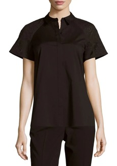 Lafayette 148 Ingrid Solid Button-Front Top