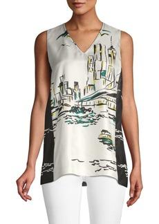 Lafayette 148 Isadora Cityscape Silk Blouse
